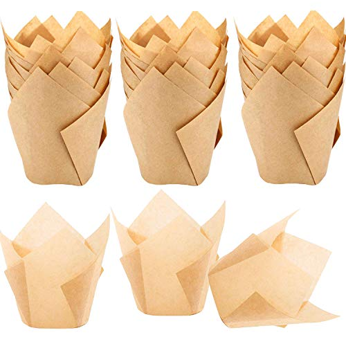 - 150pcs Tulip Cupcake Liners Natural Baking Cups Muffin Paper Liner Grease-Proof Wrappers for Wedding, Birthday Party, Standard Size, Natural Color