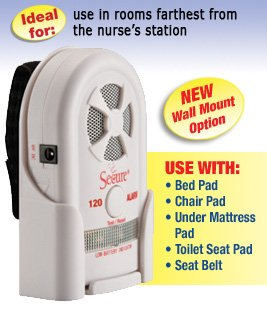 Secure Long Term Bed & Chair Sensor Pad Alarm Set for Fall & Wandering Prevention - Includes Long Term Antimicrobial Bed and Chair Pads - 80-120 dB Patient Alarm Monitor - Batteries Included by Secure (Image #1)