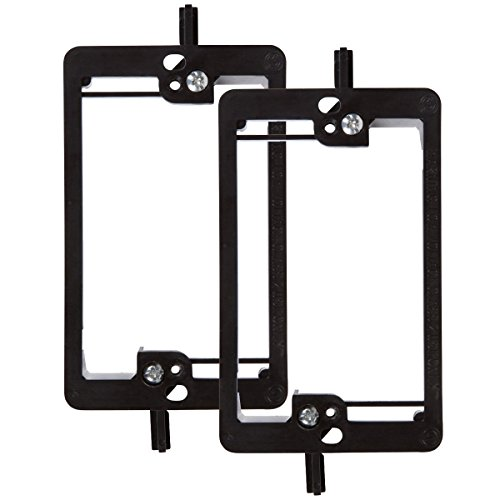 Single Gang Wall Plate Mounting Bracket, Wi4You 1-Gang Low Voltage Cable Wallplate Bracket RCA for Telephone Wires, Network Cables, HDMI, Coaxial, Speaker Cables [Black,2-Pack]