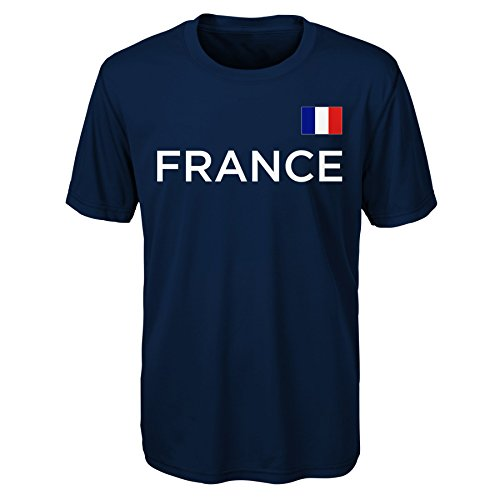 Outerstuff International Soccer France Love of Country Performance Short Sleeve Tee, Medium (10-12), Navy