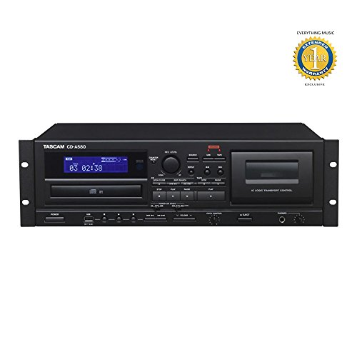 Tascam CD-A580 Cassette, USB & CD Player/Recorder with 1 Year EverythingMusic Extended Warranty Free