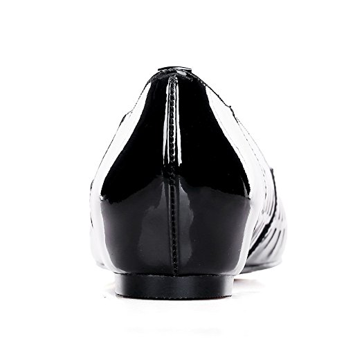 AllhqFashion Womens Pointed Closed Toe No Heel Solid Sandals with Hollow Out and Stiletto Black kQCZ73