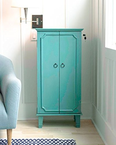 "Hives and Honey 2005-777 Cabby Fully Locking Jewelry Armoire, 40"" x 19"" x 13.75"", Turquoise"