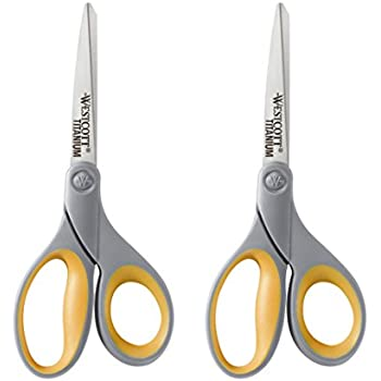 "Westcott 13901 8"" Straight Titanium Bonded Scissors, Grey/Yellow, 2 Per Pack"
