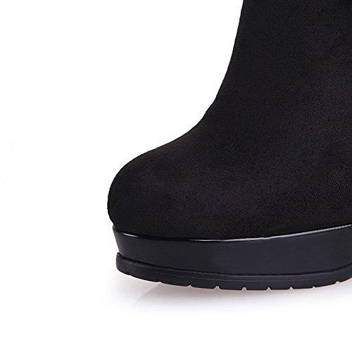 Allhqfashion Dames Geïmiteerd Suède Frosted Hoge Hakken Laarzen Met Strikje En Platform, Zwart, 35
