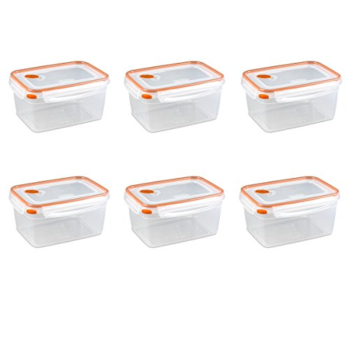 Sterilite 03231106 Ultra Seal 12.0 Cup Food Storage Container, Clear Lid and Base with Tangerine Accents, 6-Pack (12 Cup Glass Container)