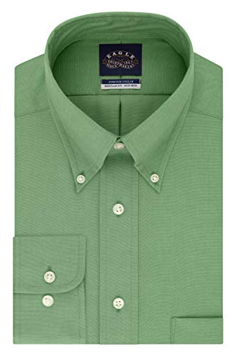 Eagle Men's Non Iron Stretch Collar Regular Fit Solid Dress Shirt, Spruce, 16