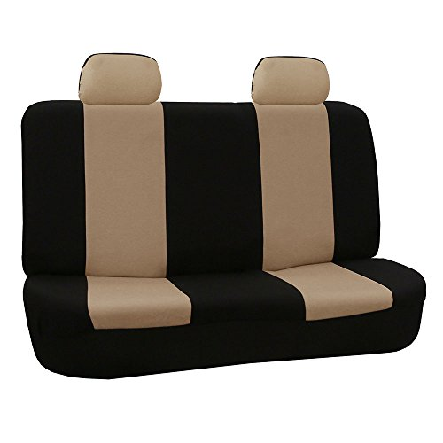 (FH Group FB050BEIGE012 Beige Fabric Bench Car Seat Cover with 2 Headrests)
