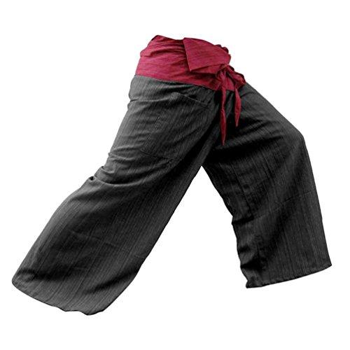 Fisherman Pants Trousers Cotton Black