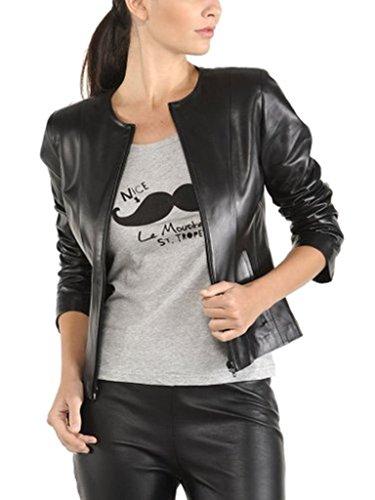 (Prim leather Women's Lambskin Leather Bomber Biker Jacket Medium Black)