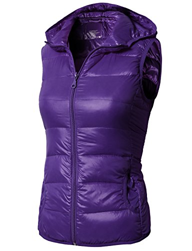 H2H Womens Casual Premium Down Hoodie Parka Vest (Woven) Purple US L/Asia L (AWOV097) - Hooded Woven Parka
