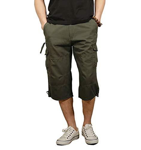 Men's Cargo Comfort Slightly Stretch Cotton Short Utility Work Trecking Cargo 3/4 Capri Pants for Mens -