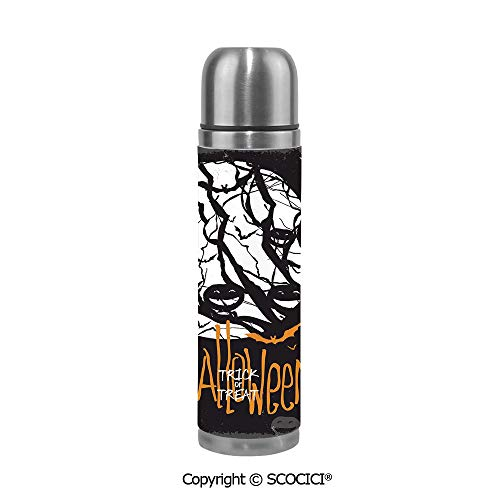 Stainless Steel Vcuum Flask Halloween Themed Image With Full Moon And Jack O Lanterns On A Tree Decorative Stainless Steel Cup Tumblers Bridesmaid Proposal 17.5 oz / 500ml]()