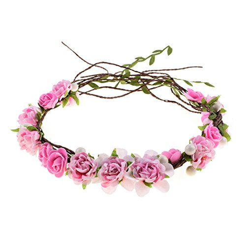 Love Sweety Women Girls Bride Rose Pearl Flower Crown Boho Floral Headpiece for Party (Baby -