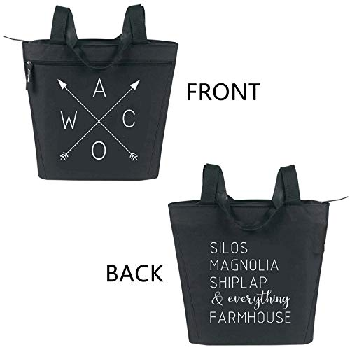 Magnolia Silos Inspired Large Zippered Tote Bag for Women - Waco, Silos, Magnolia, Shiplap, everything Farmhouse - Black (Waco Farmhouse Tote Black)