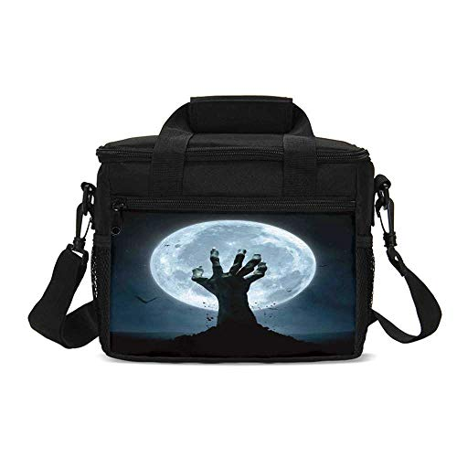 Halloween Decorations Durable Lunch Bag,Zombie Earth Soil Full Moon Bat Horror Story October Twilight Themed for Picnic Travel,9.4