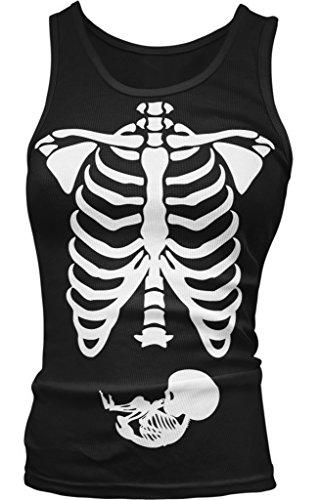 Pregnant Skeleton, Mother and Baby Halloween Costume Juniors Tank Top, Amdesco, Black Small - Mother Infant Halloween Costumes