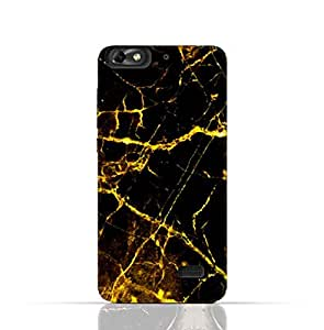 Huawei Honor 4C TPU Silicone Case With Dark And Gold Mesh Marble Pattern Design.