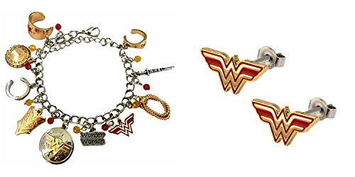DC Comics The Amazonian Wonder Woman Logo Bracelet and Wonder Woman Studs Earrings 2-Pack Bracelet and Earring Gift Sets With Gift Box