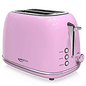 2-Slice Toasters Stainless Steel Retro Toaster with Extra Wide Slots (Pink) 7