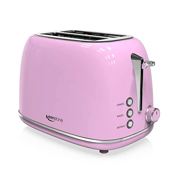 2-Slice Toasters Stainless Steel Retro Toaster with Extra Wide Slots (Pink) 1