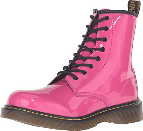 Dr. Martens Children's Delaney 8 Eye Side Zip Boot - Youth,Hot Pink Patent Lampe -