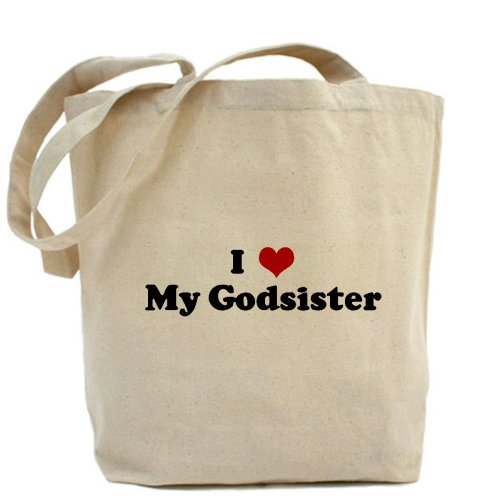 Cafepress–i Love My Godsister–Borsa di tela naturale, tessuto in iuta