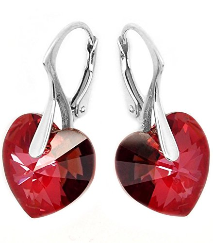 (Sterling Silver Made with Swarovski Crystal Elements Eternal Love Brown Red Heart Leverback Earrings)