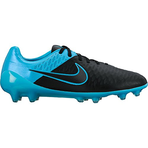 Nike Mens Magista Opus Leather FG Black/Torquoise Blue/Black Shoes - 8
