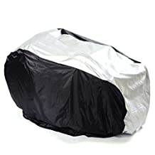 Tinksky Bike Cover - Waterproof Outdoor Bicycle Storage - Dual 2 Bike Bicycle Scooter Rain Dust Protector Snow Sun Cover, Size M Silver Black Color