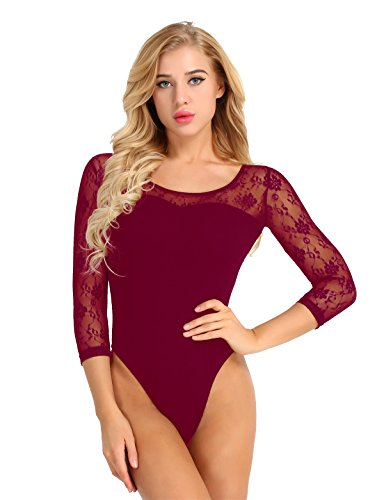 iiniim Womens Adult Ballet Dance Leotard 3/4 Long Sleeve Scoop Neck Gymnastics Bodysuit Wine Red X-Large