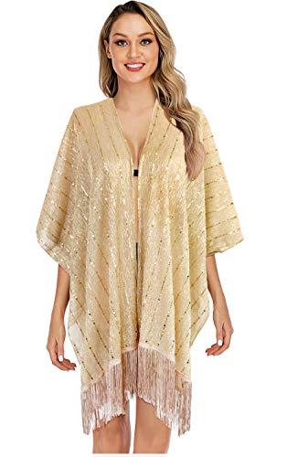L'VOW Women's Glitter Sequin Metallic Evening Wrap Fringed Kimono Cover up Shawl Cardigan ()