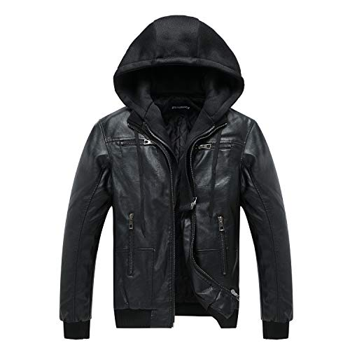 ZENTHACE Mens Full-Zip Faux Leather Hooded Motorcycle Jacket Outdoor Wear Coat Black M (Leather Jacket With Knit Sleeves And Hood)