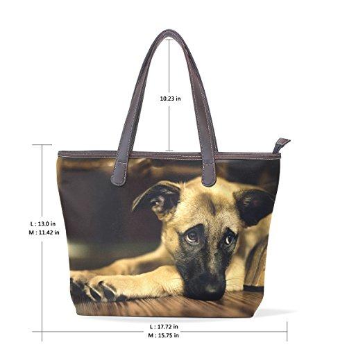 Coosun Damen Einzigartiges Design Niedlich Hund Pu Leder Große Einkaufstasche Griff Schultertasche Einkaufstaschen Casual Taschen Handtasche für Mädchen