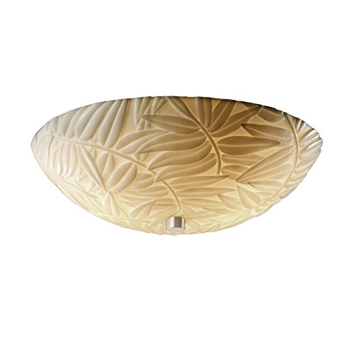 Justice Design Group Porcelina 3-Light Fluorescent Semi-Flush - Brushed Nickel Finish with Bamboo Faux Porcelain Resin Shade