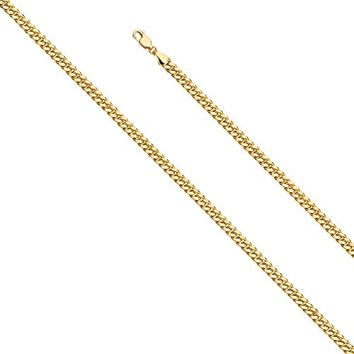- Wellingsale 14k Yellow Gold 4.5mm Hollow Miami Cuban w/Lob lock Chain Necklace with Lobster Claw Clasp - 24