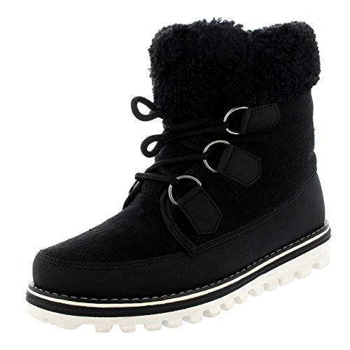 Polar Products Womens Waterproof Durable Snow Winter Hiking Fleece Ankle Boots   Black Textile   Us8 Eu39   Yc0495