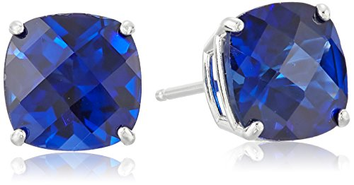 Sterling Silver Cushion-Cut Checkerboard Created Blue Sapphire Stud Earrings -