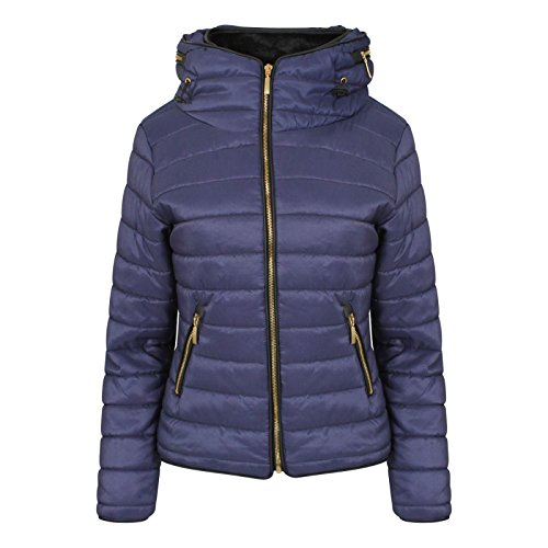 Womens Ladies Quilted Padded Coat Bubble Puffer Jacket Fur Collar Hooded Thick [Navy, UK L]