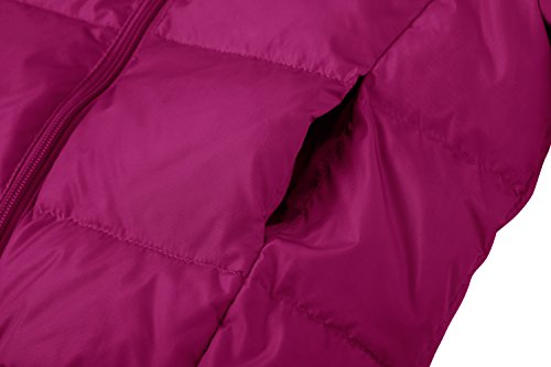 Wantdo Girl's Ultra Light Down Jacket Windproof Hoodies Outwear Short Parka for Camping(Rose Red, 4/5) by Wantdo (Image #5)