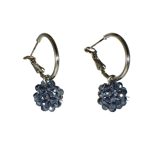 Blackberry Womens (Cute Silvertone Berry Hoop Earrings Blue Glass Blackberry Jewelry (Blueberries))
