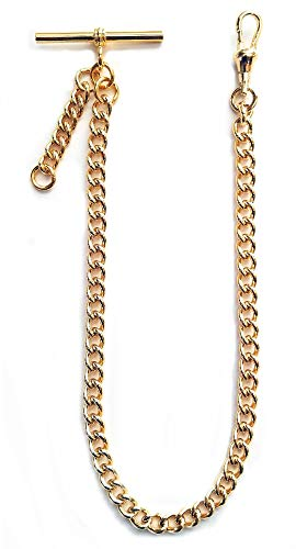 Dueber Yellow Gold Plated Albert Pocket Watch Chain with fob Drop (Watch Chain Fob)
