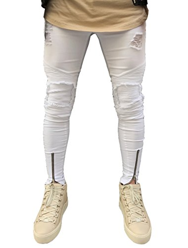 Men's Distressed Skinny Slim Fit Zip Jeans with Rips and Biker Details White 28