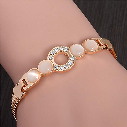 (Nattaphol Vintage Natural Cat's Eye Stone Bracelet & Bangle Women Gold Color Austrian Crystal Opal Bracelet Hand Chain TL223 )
