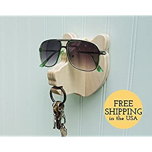 Bear head wall hanger for keys & glasses - next-to-door organizer for keys, glasses, sunglasses