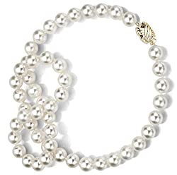 18k Yellow Gold, 8.5-9mm White Japanese Saltwater Akoya AAA Cultured Pearl Necklace - Elegant Gift
