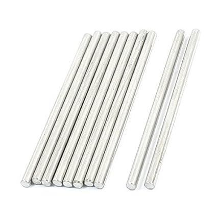 10pcs tom de prata de aço inoxidável 50 x 2, 5 milímetros barras redondas para RC Modelo - - Amazon.com