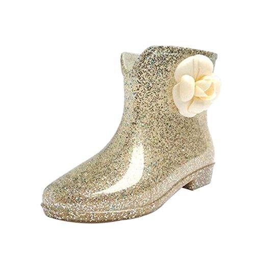 Hzjundasi Womens Non-slip Rainboots Waterproof Rubber Rain Shoes Princess Ankle Boots Rain Boots Water Shoes Winter Boots Gold1