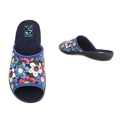 Ital-Design Hausschuhe Damenschuhe Pantoffeln Pantoffel Freizeitschuhe Blau Multi