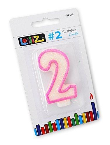 LolliZ - Vela de cumpleaños con número 2, 1 unidad De color ...